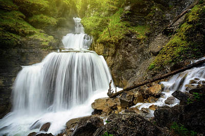 Amazing Mountain Waterfall Near Farchant Village At Garmisch Partenkirchen, Farchant, Bavaria, Germany. Art Print