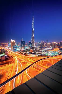 Amazing Night Dubai Downtown Skyline, Dubai, United Arab Emirates Art Print