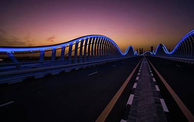 Amazing Night Dubai Vip Bridge With Beautiful Sunset. Private Ro Art Print