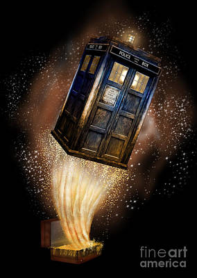 Fandom Digital Art - Amazing Phone Booth And Fantastic Bag by Three Second