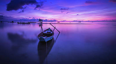 Photograph - Amazing Places Art - Beautiful Purple Morning Seascape by Wall Art Prints