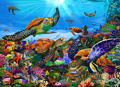 Under The Ocean Digital Art - Amazing Undersea Turtles by Gerald Newton
