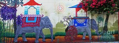 Photograph - Amazing Wall Art Painting Or Elephants by Akshay Thaker- PhotOvation