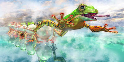 Surrealism Digital Art - Amazon Frog Mighty Jumper by Betsy Knapp