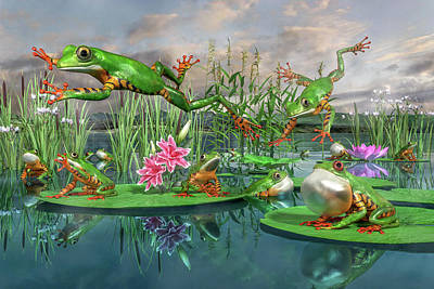 Lilies Digital Art - Amazon Frogs Welcoming Spring by Betsy Knapp