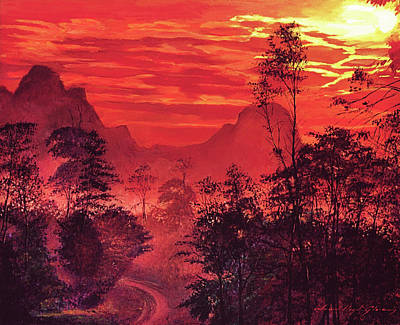 Amazon Wall Art - Painting -  Amazon Sunset by David Lloyd Glover