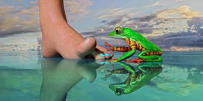 Surrealism Digital Art - Amazon Tree Frog Curiosity by Betsy Knapp