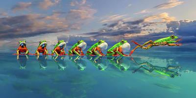 Surrealism Digital Art - Amazon Tree Frog The Vocal Jumper by Betsy Knapp