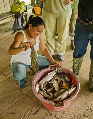Ribereno Photograph - Amazon Wife With Today's Catch by Allen Sheffield