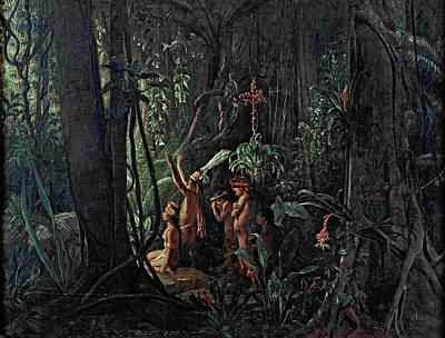 Amazonian Indians Worshiping The Sun God Print by Francois-Auguste Biard