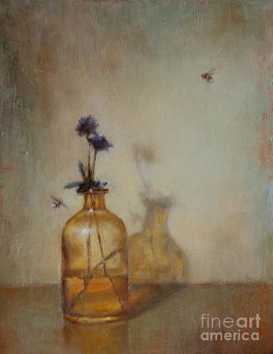 Amber Bottle And Bees  Art Print