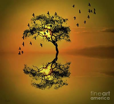 Flock Of Bird Mixed Media - Amber Dusk by KaFra Art
