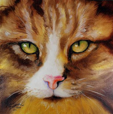 Orange Tabby Painting - Amber Eyes Sweet Kitty by Marcia Baldwin