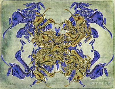 Digital Art - Amber Fractal Abstract by Nina Silver