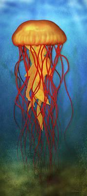 Digital Art - Amber Jellyfish by WB Johnston