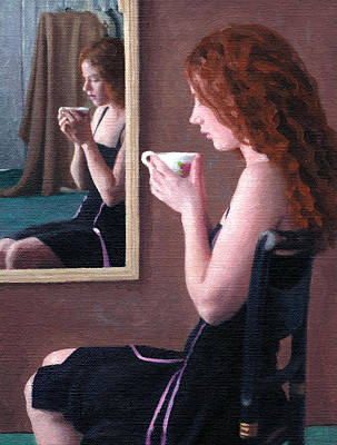 Painting - Amber Sipping Tea by Charles Pompilius