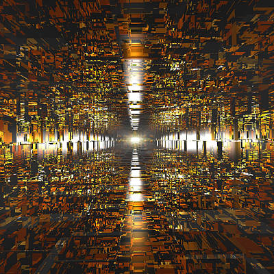 Abstract Digital Art - Amber Tunnel by Dr-Pen