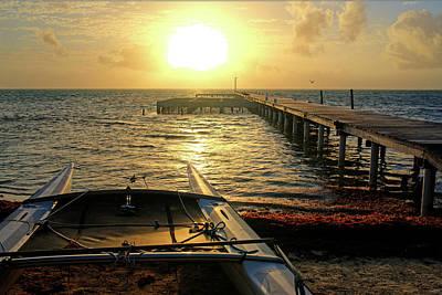 Photograph - Ambergris Sunrise Schooner San Pedro Belize by Toby McGuire