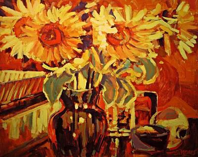 Amber's Sunflowers Art Print by Brian Simons
