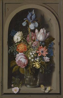 Ceramics Painting - Ambrosius Bosschaert The Elder, Vase With Flowers In A Niche, About 1615 by Celestial Images