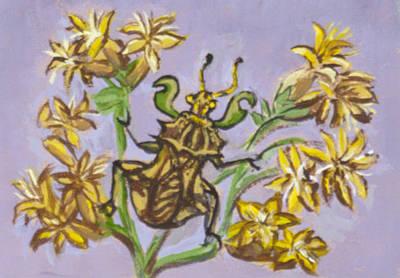 Painting - Ambush Bug On Rabbitbrush by Dawn Senior-Trask