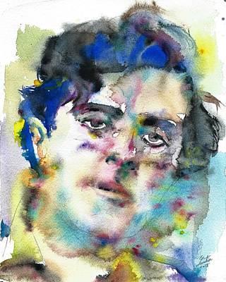 Painting - Amedeo Modigliani - Watercolor Portrait by Fabrizio Cassetta