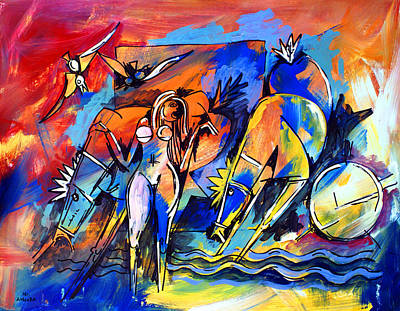 Painting - Ameeba 40- Nude Woman With Horses By The Sea by Mr AMeeBA