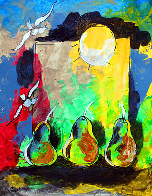 Painting - Ameeba 42- Pear Still Life 2 by Mr AMeeBA