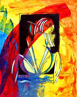 Painting - ameeba 45- Pear Woman by Mr AMeeBA