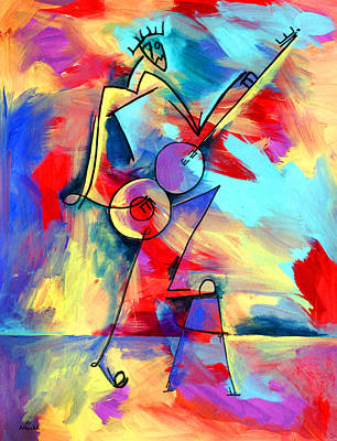 Painting - Ameeba 51- Letter Figure Playing Guitar by Mr AMeeBA
