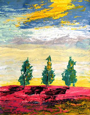 Painting - Ameeba 68- Three Trees  by Mr AMeeBA