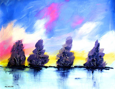 Painting - Ameeba 70- Trees On Water               by Mr AMeeBA