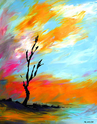 Painting - Ameeba 73- Lonely Tree 2             by Mr AMeeBA