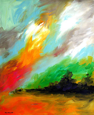 Painting - Ameeba 74- Fire Sky by Mr AMeeBA