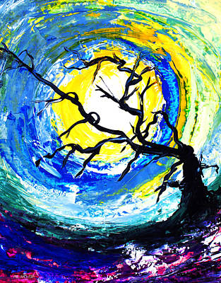 Painting - Ameeba 81- Tree Under The Moon                     by Mr AMeeBA