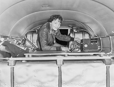 Bsloc Photograph - Amelia Earhart 1897-1937, Checking by Everett