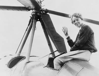 Cockpit Photograph - Amelia Earhart 1897-1937, Waving by Everett
