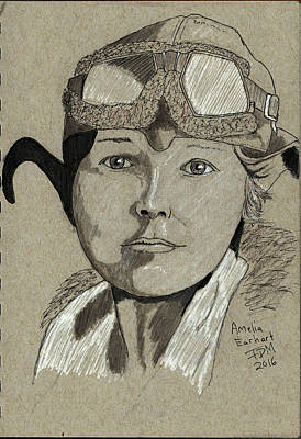 Drawing - Amelia Earhart by Frank Middleton