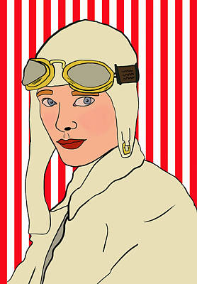 Feminist Mixed Media - Amelia Earhart by Nicole Wilson