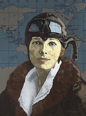 20th Drawing - Amelia Earhart by Suzanne Gee