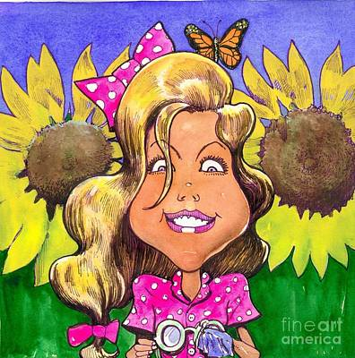 Amelia In Sunflowers Art Print by Robert  Myers
