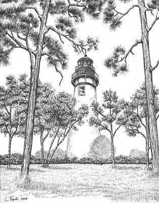 Drawing - Amelia Island Lighthouse by Lawrence Tripoli