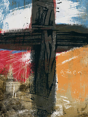 Red Abstract Art Mixed Media - Amen Contemporary Cross- Art By Linda Woods by Linda Woods