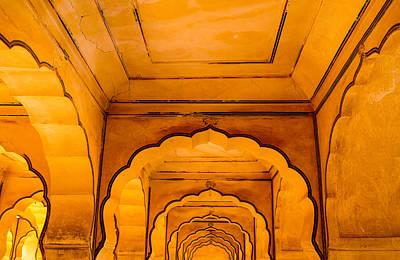 Photograph - Amer Fort Ceiling by M G Whittingham