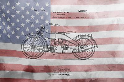 Us Flag Mixed Media - Amercian Dream Bike by Art Dreams