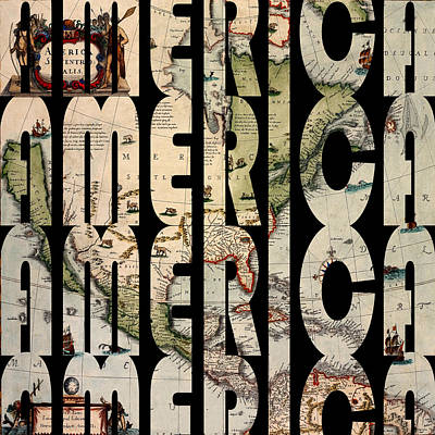 Typography Map Photograph - America 1610 by Andrew Fare