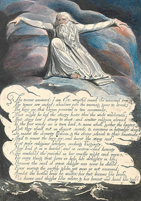 America A Prophecy, Plate 10,  Art Print by William Blake