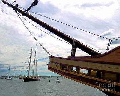 Photograph - America And The Bow Of Mayflower II  by Janice Drew