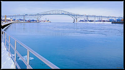 Photograph - America Blue Water Bridge Michigan  by LeeAnn McLaneGoetz McLaneGoetzStudioLLCcom