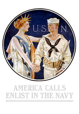 U-2 Painting - America Calls Enlist In The Navy by War Is Hell Store